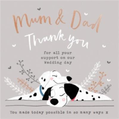 Disney 101 Dalmatians Mum And Dad Thank You For Your Support Wedding Card