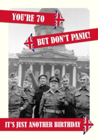 Retro Humour Dad's Army Don't Panic 70th Birthday Card