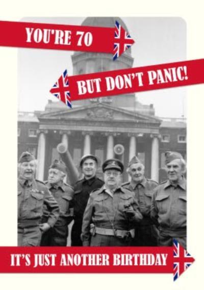 Retro Humour Dad's Army Don't Panic 70th Birthday Card