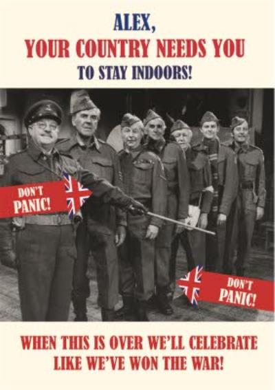 Retro Humour Dad's Army Social Distancing Personalised Day Card