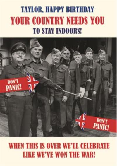Retro Humour Dad's Army Social Distancing Happy Birthday Card