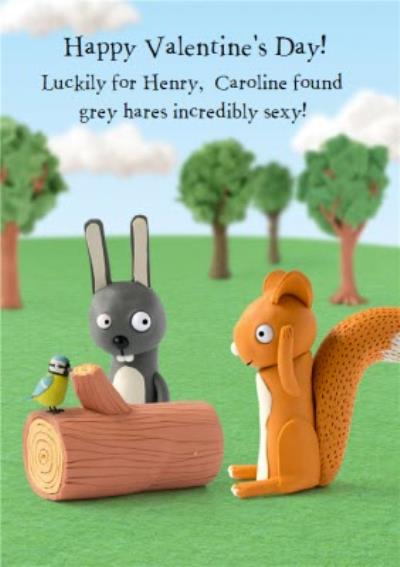 Grey Hare And Squirrel Funny Caption Personalised Valentine's Day Card