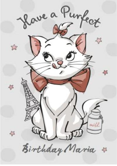 Disney Marie Birthday Card - Cat Card