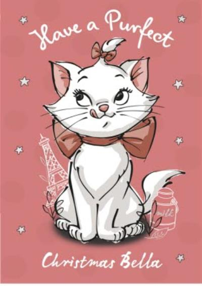 Aristocats Personalised Pink Christmas Card
