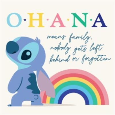 Disney Stitch Ohana Means Family Just a Note Card