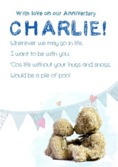 Teddies In Love With Poem Personalised Happy Anniversary Card