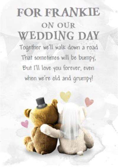Top Hat And Veil Teddies Personalised Wedding Card