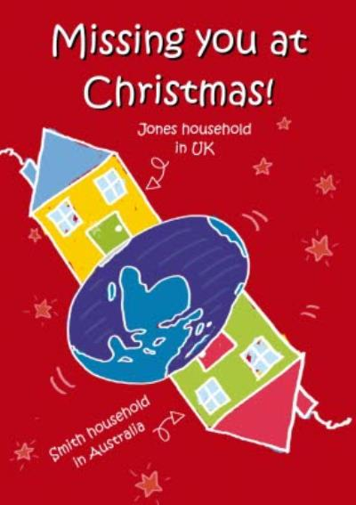 Across The Miles Uk To Australia Personalised Christmas Card