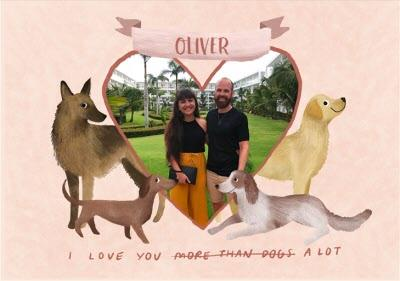 Valentine's Card - Anniversary Card - I Love You - Dogs - Photo Upload