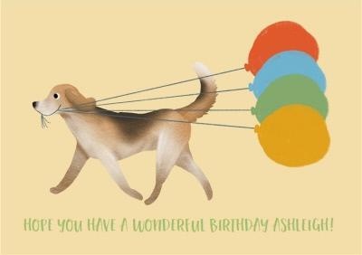 Birthday Card - Wonderful Birthday - Birthday Balloons - Dogs