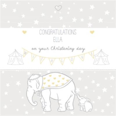 Big Elephant And Little Elephant Personalised Christening Day Card
