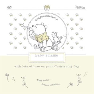 Cartoon Winnie The Pooh Congrats On Your Christening Day Card