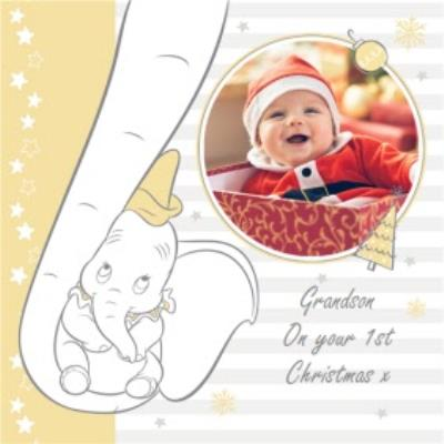 Disney Dumbo Trunk Personalised Photo Upload Happy 1st Christmas Card For Grandson