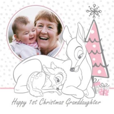 Disney Bambi Personalised Photo Upload Christmas Card For Granddaughter