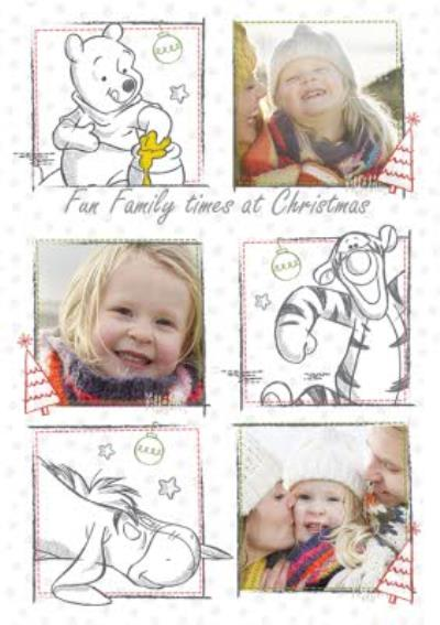 Disney Winnie The Pooh Fun Family Times Personalised Photo Upload Merry Christmas Card