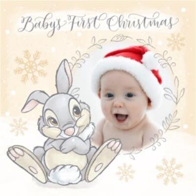 Disney Bambi Thumper Babys First Christmas Photo Upload Card