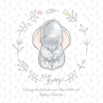 Disney Baby Personalised Dumbo New Baby Card