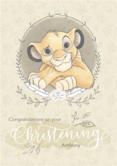 Disney Baby Personalised Simba Christening Card