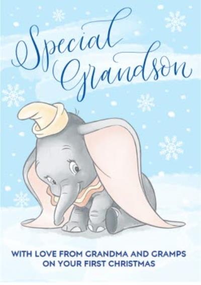 Disney Dumbo Grandson'S First Christmas Personalised Card