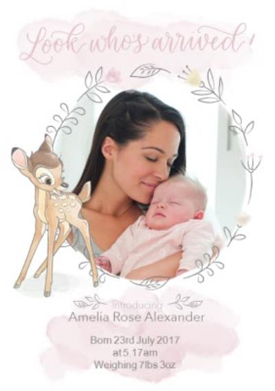 Disney Bambi - New baby Card - Photo upload