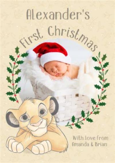 Disney The Lion King Simba baby's first Christmas photo upload Christmas card