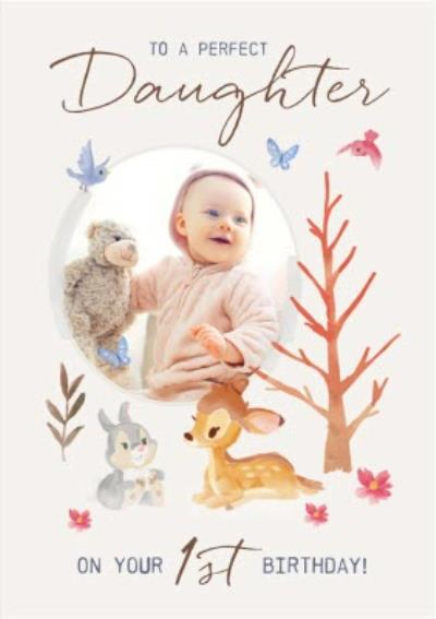 Disney Bambi Photo Upload Birthday Card To A Perfect Daughter on your 1st Birthday