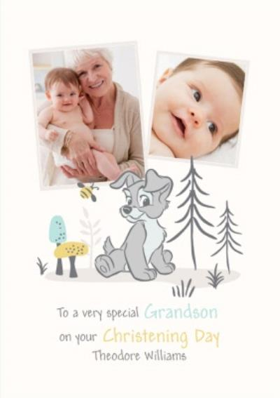 Disney Lady And The Tramp Special Grandson Photo Upload Christening Card