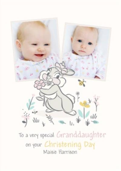 Disney Thumper Special Granddaughter Photo Upload Christening Card