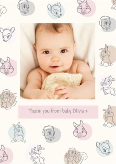 Disney Thumper Bambi Thank You From The Baby Photo Upload Card