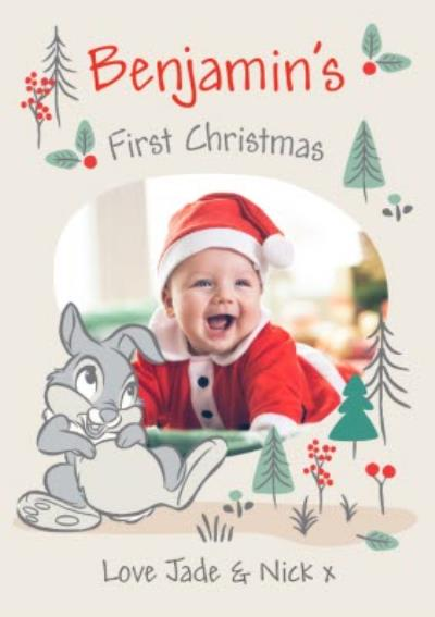 Cute Disney Bambi Photo Upload Baby First Christmas Card
