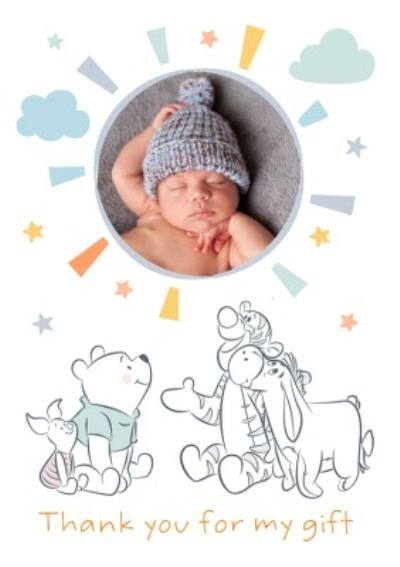 Cute Disney New Baby Thank You For My Gift Photo Upload Card