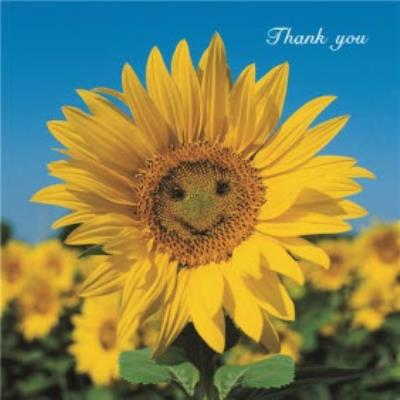 Smiling Sunflower Personalised Thank You Card