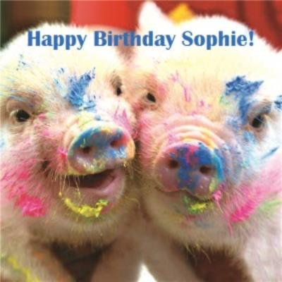 Pigs In Paint Personalised Happy Birthday Card