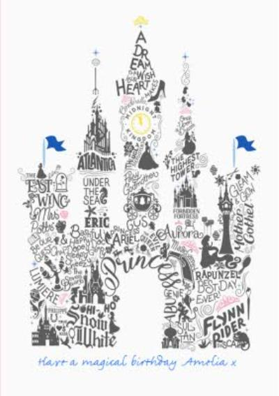 Disney Scribble Fairy Tale Castle Personalised Text Card