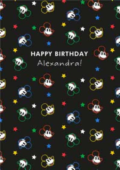 Disney Luxe Happy Birthday Mickey Mouse Pattern Card