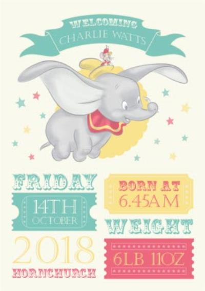 Dumbo Personalised Birth Announcement Card