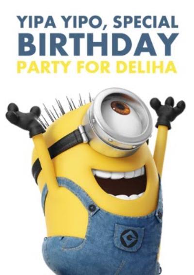 The Minions Yipa Yipo Personalised Birthday Party Invitation