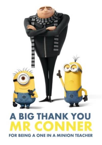 Despicable Me Personalised Thank You Teacher Card
