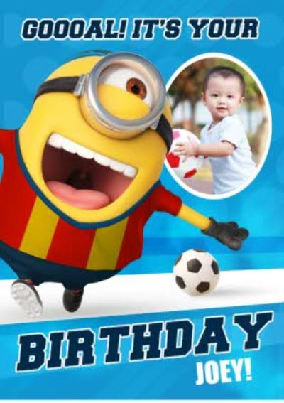 Kid's Birthday Cards - Minions - Football - Photo Upload Cards