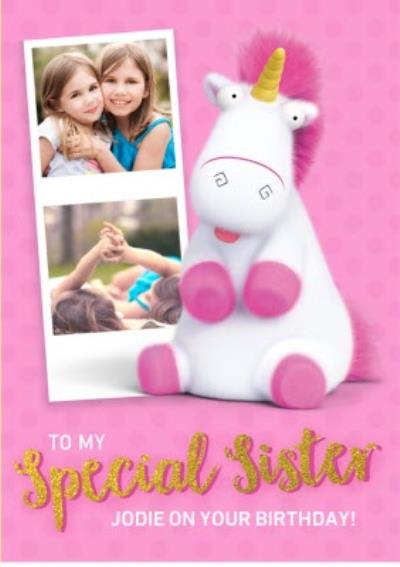 Sister Birthday Cards - Despicable Me - Unicorn - It's so Fluffy