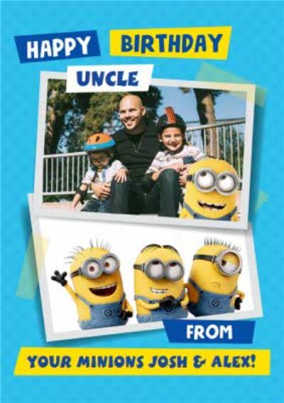 Despicable Me Minions Uncle Birthday Photo Upload Card.