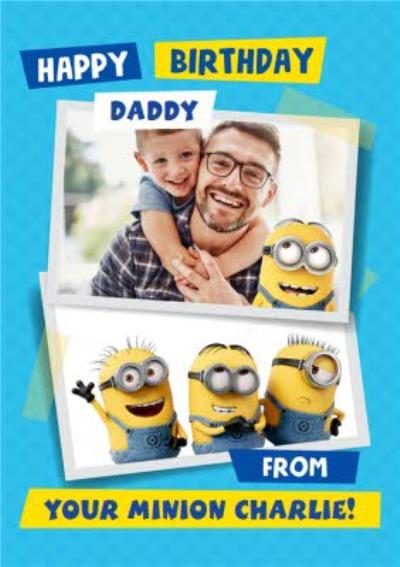 Despicable Me Minions Dad Daddy Birthday Photo Upload Card.