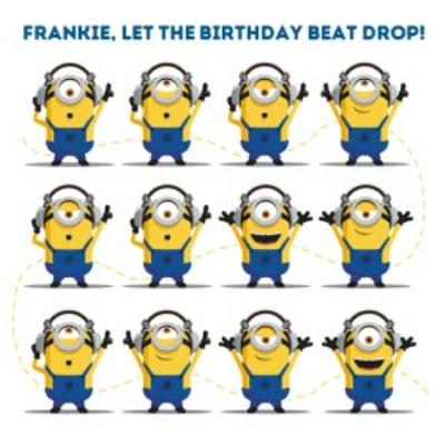 Despicable Me Minions Let The Birthday Beat Drop Birthday Card