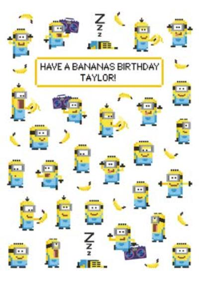 Despicable Me Pixelated Minions Birthday Card Have A Bananas Birthday