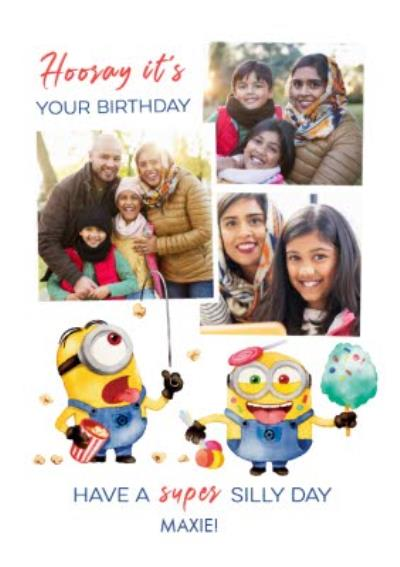 Despicable Me Minions Have a Super Silly Day Photo Upload Birthday Card