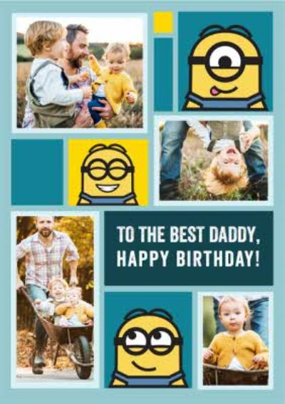 Despicable Me Minions Best Daddy Photo Upload Birthday Card