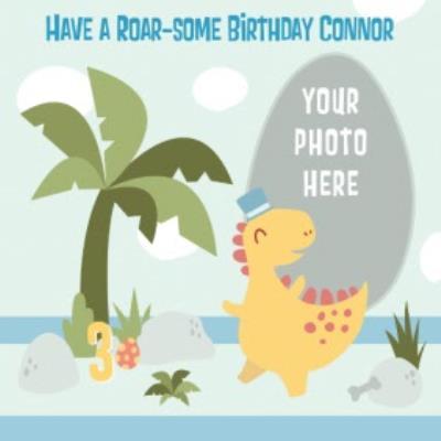 Cartoon Dinosaur Have A Roar-Some Birthday Photo Card