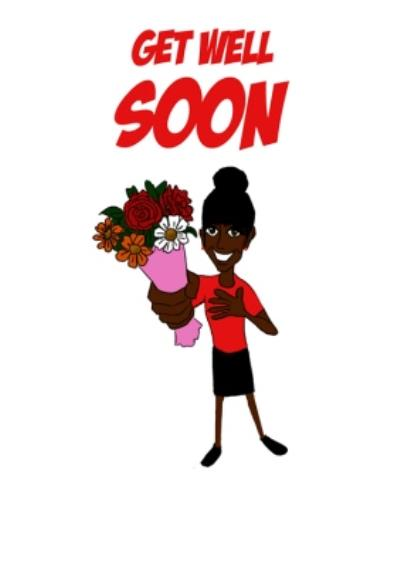Illustrated Lady Holding Flowers Get Well Soon Card