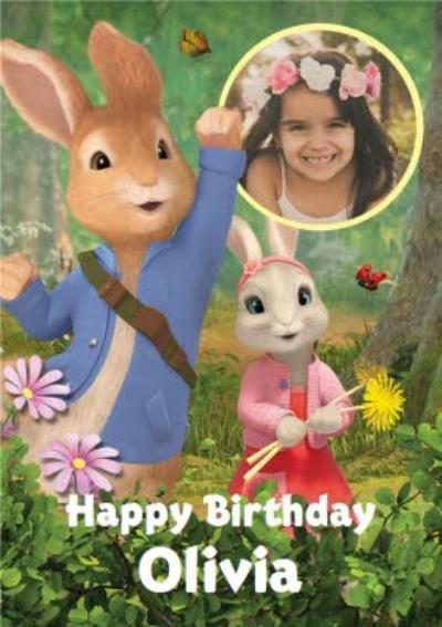 Cute Peter Rabbit Photo Upload Birthday Card