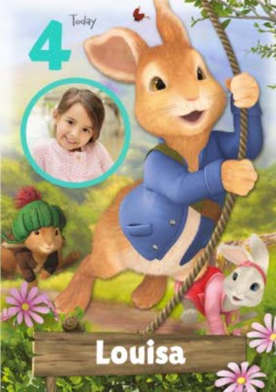 Cute Peter Rabbit Today You are Photo Upload Birthday Card